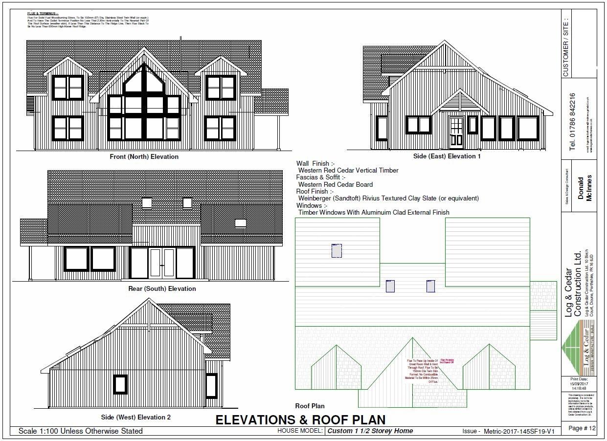 Construction Blueprints - Elevations & Roof Plan