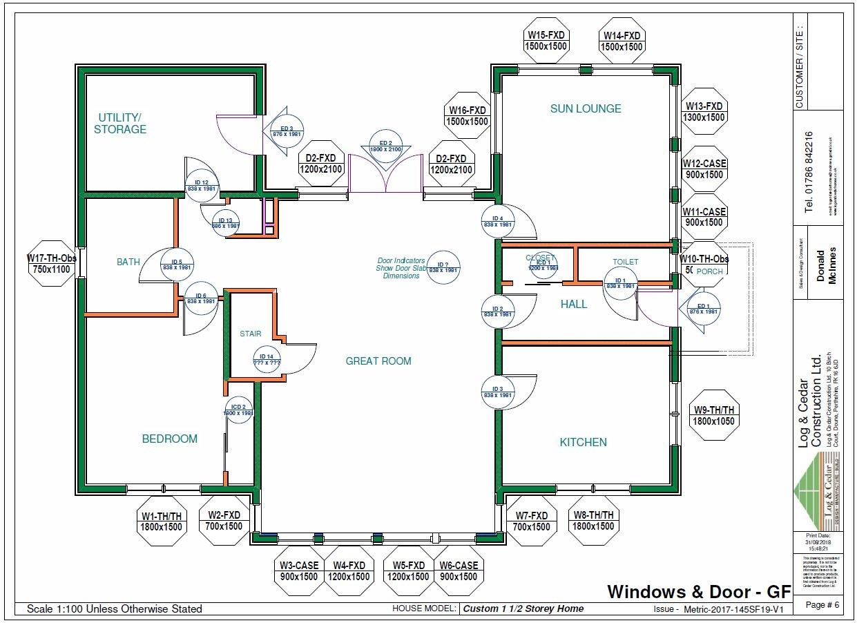 Construction Blueprints - Windows & Door