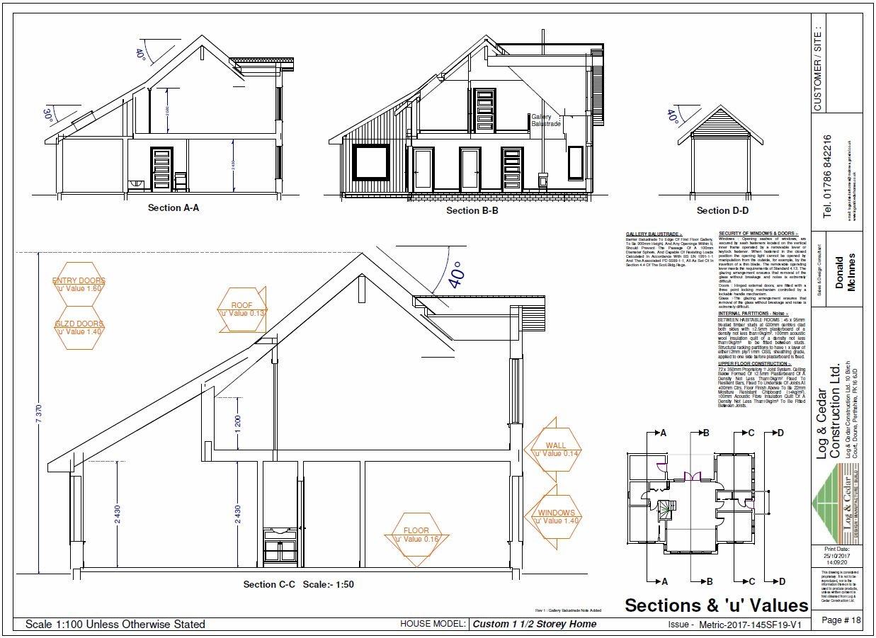 Construction Blueprints - Sections & 'U' Values