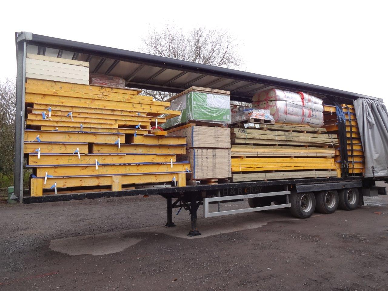 Kit Home Package delivered on lorry