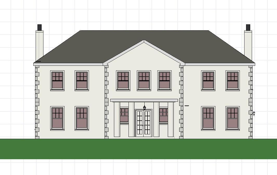 Plans-3D - South elevation showing flue pipe